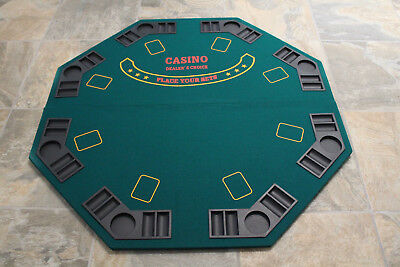 """47"""" Green Octagon 8 Player Folding Poker/Blackjack Table Top in Carry Case"""