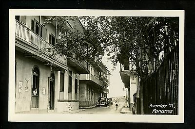 Panama Canal Zone US real photo postcard RPPC Avenue A street view