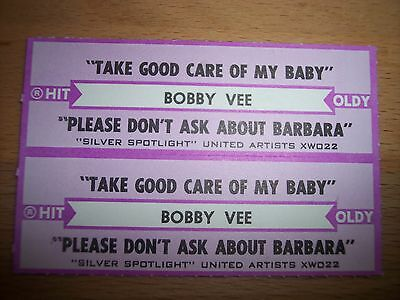 "2 Bobby Vee Take Good Care Of My Baby Jukebox Title Strips CD 7"" 45RPM Records"