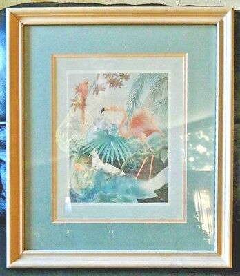 Flamingo Cockatoo Parrot Print Framed Vintage Gloria Ericksen Matted w Glass