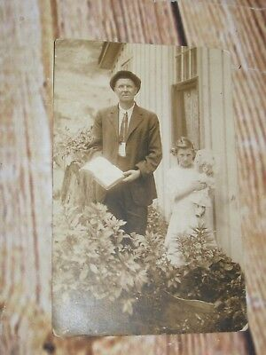Vtg. Real Photo Postcard Man Holding Bible W/Daughter Holding Antique Old Doll