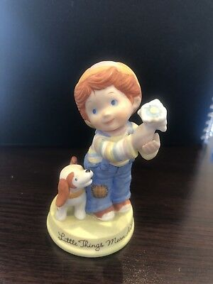 """1983 Avon Boy and Dog Figurine """"Little Things"""""""