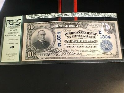 1902 $10 Large National  Currency Bill from Bank of New York City