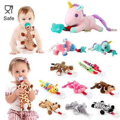 Baby Dummy Pacifier Chain Clip Animal Plush Soother Toys Plush Nipples Holder UK