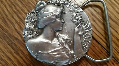 """Art Deco Looking Lady Bust with Flowers Metal Belt Buckle-Unique-2"""" Round-J48"""
