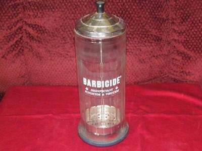 Vintage Barbicide Disinfectant Container Glass Jar Hair Salon Barber GUC