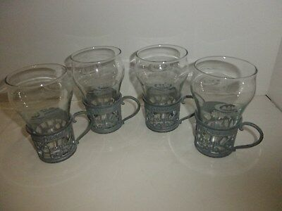 Vintage A&w Cream Soda Pewter Cup Holders 7 Glasses Rare Set Of 4