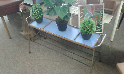 Vintage 1960's plant stand with new blue formica top added