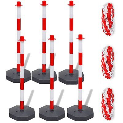 6 Pcs Safety Barriers Security Fence Post Base Set with 3 Pcs 10m Plastic Chain