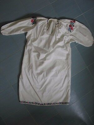 Handmade old vintage antique embroidery folk peasant Ukrainian ethno dress shirt