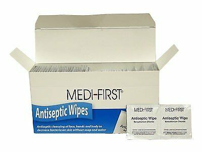 100 Extra Large Antiseptic First Aid Wipes - Medi-First Face, Hand + Body Wipe