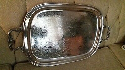 Gorham Large & Ornate Vintage Silverplate Tray With Handles YC1912