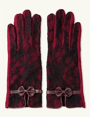 Victorian Trading Co Burgundy Bordeaux Lace Cashmere Texting Gloves L/XL