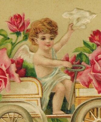 Antique Valentines Day Postcard Cupid In Auto Filled W/Roses EMB Germany