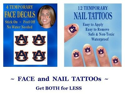 c9ea6bdc5 Auburn University Tigers Combo Face and Nail Decals Temporary Tattoos GET  BOTH!