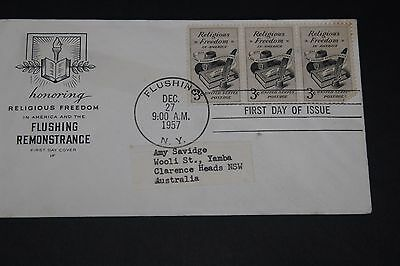 Usa 1957 Illustrated Religious Freedom Issues First Day Cover To Aust