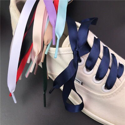 81aaaec2a42382 Flat Shoelaces Ribbon Satin Shoe Laces Strings Kids Youths Sneakers Trainers  DIY