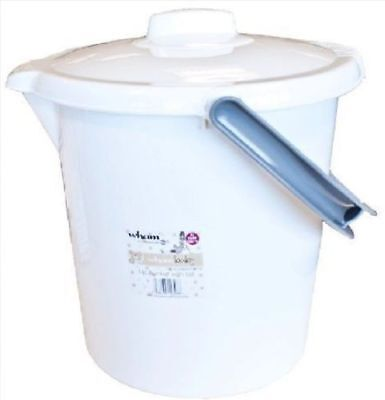 16 Litre White And Grey Nappy Bucket With Lid Ice Handle For New Born Baby
