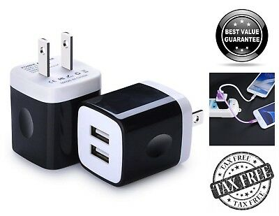 2 Pack Double USB Wall Charger 2.1A Dual Port Charging Cube Block Power Adapter