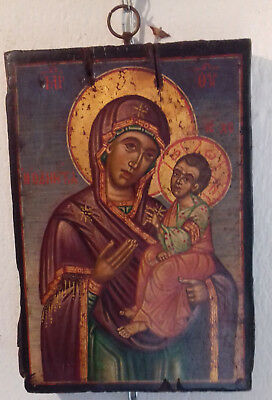 Antique Greek icon of the Virgin Mary Odeghetria 19th century