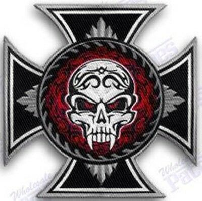 Biker Skull Cross  Iron On Embroidery Patch 3 Inches Motorcycle Gang Emblem