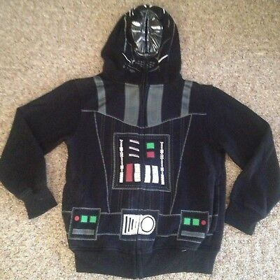 Boy's Star Wars Darth Vader hoodie size M 10/12 black zip-up sweatshirt