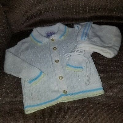 NOVELTY KNIT BABY SWEATER WITH BONNET, VINTAGE .... BOYS 🐳 0-3 mths