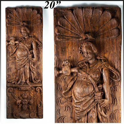 "Antique Carved 20"" Tall Panel of Oak, c.1700s - early 1800s, Neoclassical Figure"