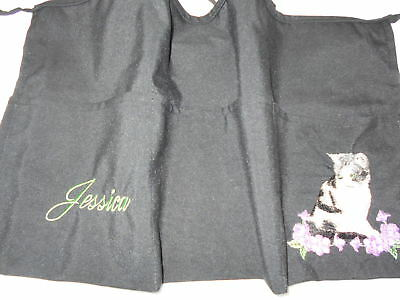 3 POCKET Black Server WAITRESS WAIST APRON Cat Embroidered W/WO Name Lady Pizazz