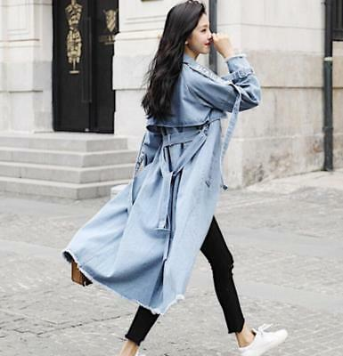 2019 Korean Casual Womens Jeans Denim Trench Coat Girls Loose Jacket Parkas Hot