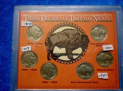 Lot Of 6 Buffalo Nickels In Lucite Case - 1918, 1927(2), 1936(2) & 1937   (182m)