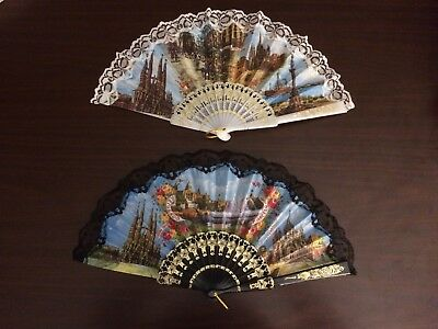 Barcelona, Spain - Folding Hand Held Chinese Fans, Two Fans Total