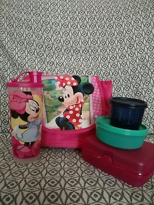 TUPPERWARE Minnie Mouse Insulated Lunch Set DISNEY 16oz tumbler, sandwich Keeper