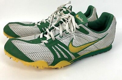 sneakers for cheap 54d5a ad298 Nike Zoom Rival D Running Track Shoes Mens Size 11 White Green Yellow  Spikes