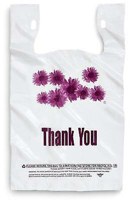 Purple Flower Thank You Plastic Shopping Grocery Store Bags w/ Holder 500 pieces