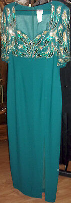 Vintage Alyce Designs Green EVENING DRESS Gown Beads Sequins Embellishments 14