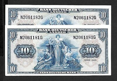 1949  Germany   -   Consec Pair Of  10 Deutsche Mark Notes  -  Nice But Not Unc