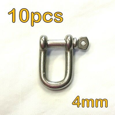 10pcs - 4mm STAINLESS STEEL DEE D SHACKLE MARINE SHADE SAIL CAR MOORING #3