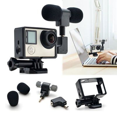 Housing Frame Case + External Microphone + Adapter Kit for GoPro Hero 4/3+/3