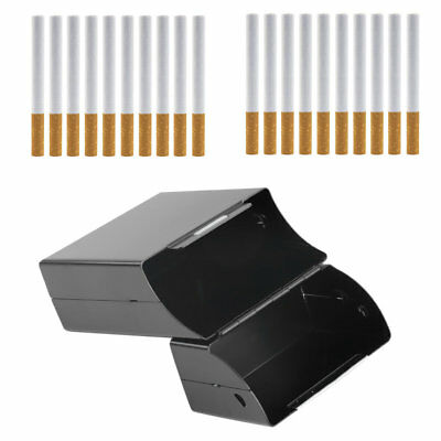 Black Aluminum Metal Cigar Cigarette Box Holder Tobacco Storage Case Gift