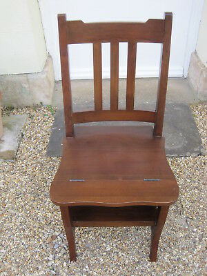 Hard Wood Metamorphic Library Chair Steps with Rail Back *
