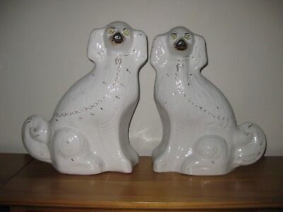 """Large Antique Pair Staffordshire Wally Dog Spaniels - 13"""" tall"""