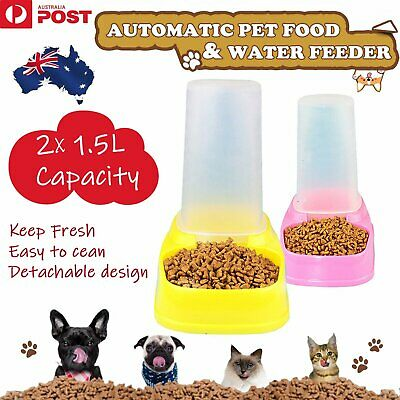 UP 2x Automatic Pet Feeder Dog Cat Food Water Self Feeding Bowl Dispenser 1.5L F