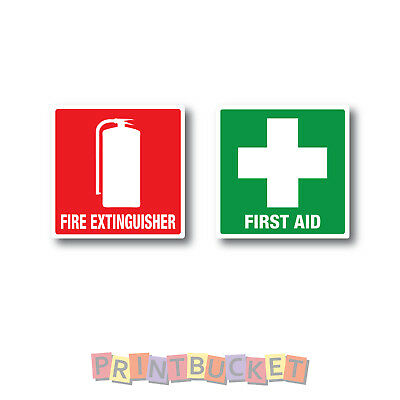 Fire Extinguisher & First Aid sticker Set 60mm x 60mm water/fade proof vinyl