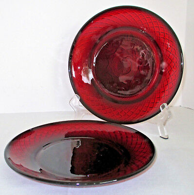 Cristal d'Arques Antique Ruby Red Luncheon Plates Set of 2 France
