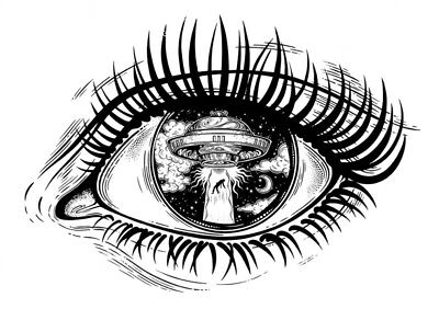 High Quality 9.5cm x 6.5cm Fake Tattoo Alien Eye Ship Waterproof Temporary Art