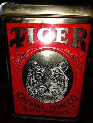 TIGER chewing tobacco tin, great graphics & colors, VG