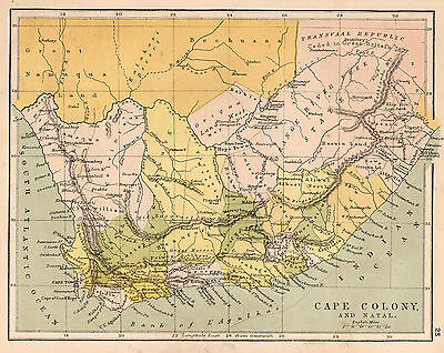 Map of Africa Cape Colony Circa 1900 Original Antique