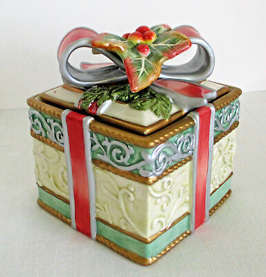 Fitz and Floyd Enchanted Holiday Lidded Square Box Present with Bow