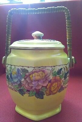 Maling Rare Yellow Ground Peony Rose Biscuit Barrel Newcastle 1920-30s